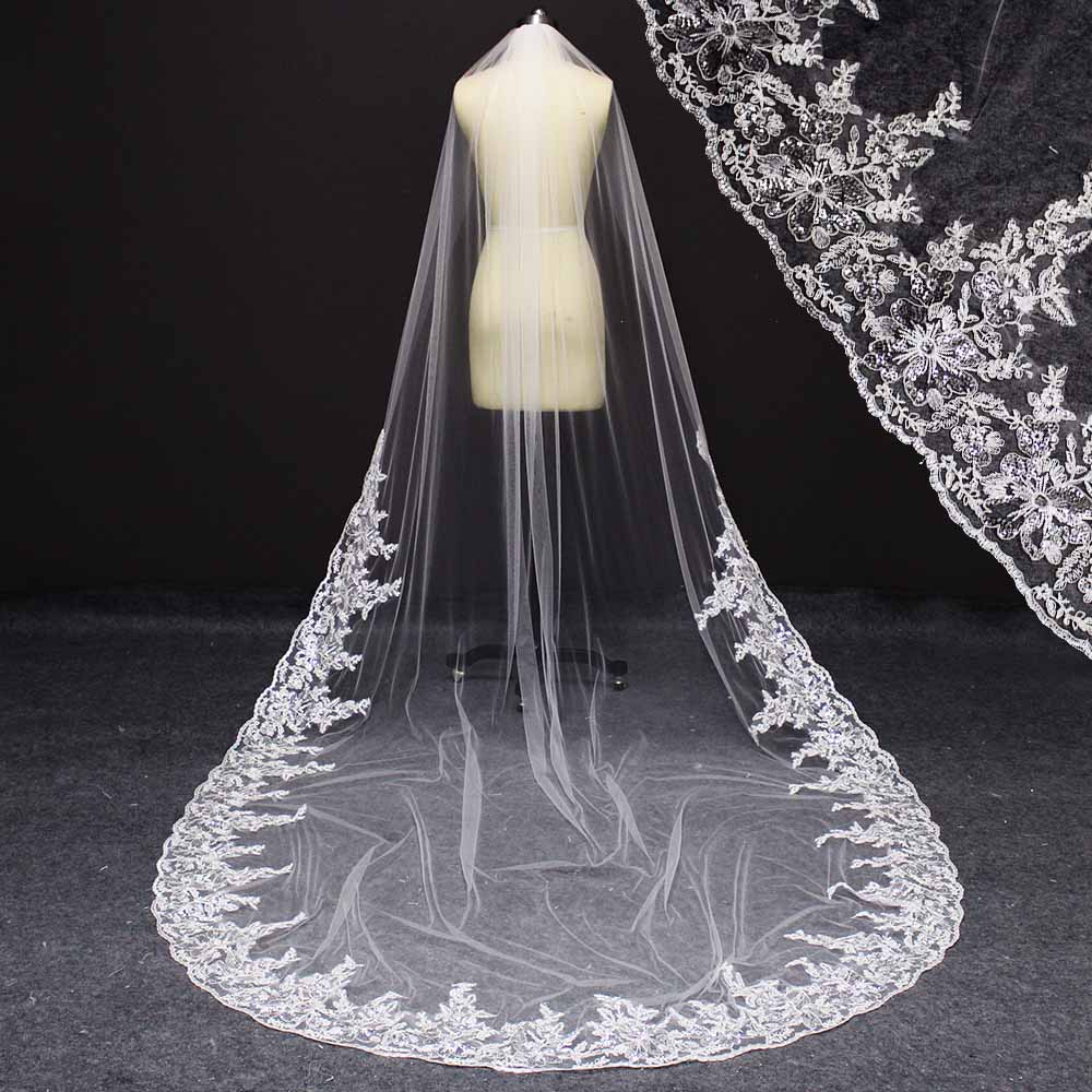 Princess Wedding Veils 3 Yards Long Tail Lace Appliques Beautiful Bride Veil White Gorgeous Bridal Veils With Combs