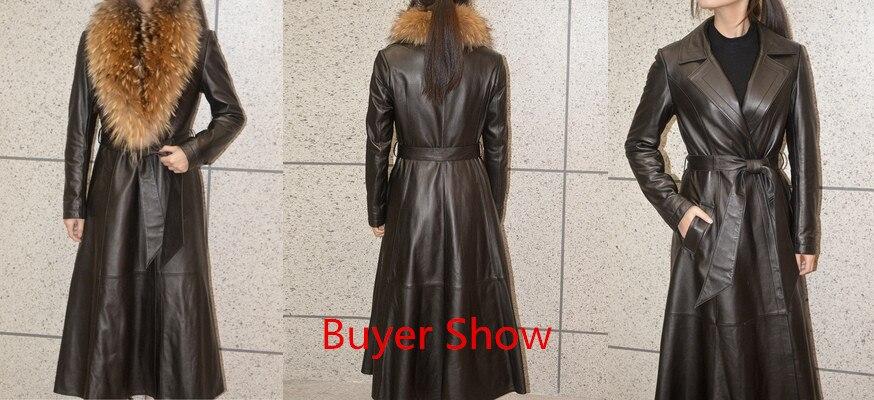 Jacket Leather Winter Coat Women Long Down Jacket Real Raccoon Fur Collar Genuine Sheepskin Coat Female Windbreaker MY