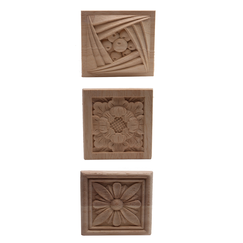 European-style Home Decoration Cabinet Door Bed Decorative Flowers Dongyang Wood Carving White Embryo Long Decals Wood Applique