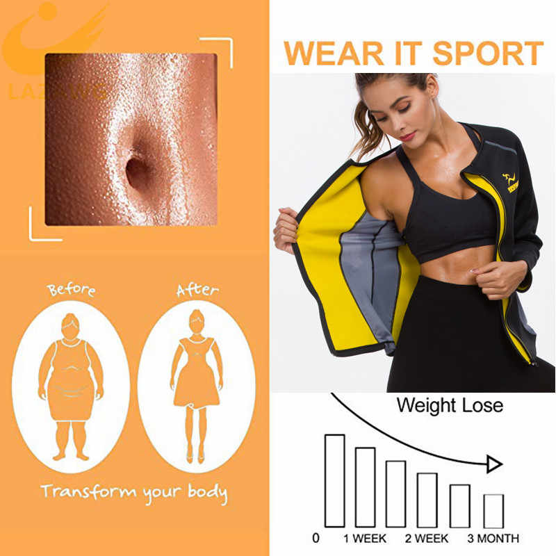 Lazawg Vrouwen Hot Zweet Gewichtsverlies Shirt Neopreen Body Shaper Sauna Jas Pak Workout Lange Training Kleding Vet Brander Top