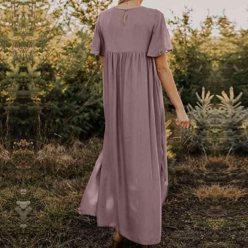 ZANZEA Donne Dell'annata Floreale Stampato Vestito Estivo Estate Abito Lungo Manica Corta Vestido Caftano Abiti Più Il Vestito Da Formato Veste Femme