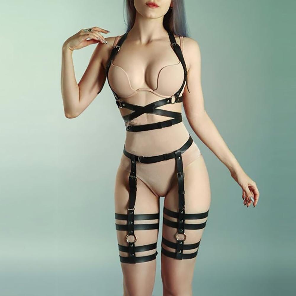 WKY Leather Harness Set 2PCS Women Body Bondage Sexy Lingerie High Waist Belt Band To Leg Garter Suspenders Harajuku Stockings