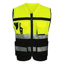 Жилет безопасности светоотражающий видимость карманы строительство Движение Велоспорт одежда