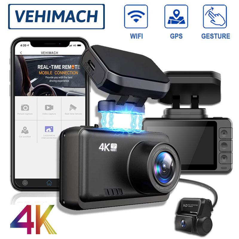 4K GPS Wifi Dash Cam Car DVR Camera Dash Cam Auto Video Recorder Dashcam Dual Lens Front And Rear View 2.4'' Vehicle Registrator