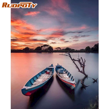 RUOPOTY 60x75cm Frame DIY Painting By Numbers Kits For Adults Canvas By Numbers Boat Landscape DIY Gift Drawing On Canvas Art