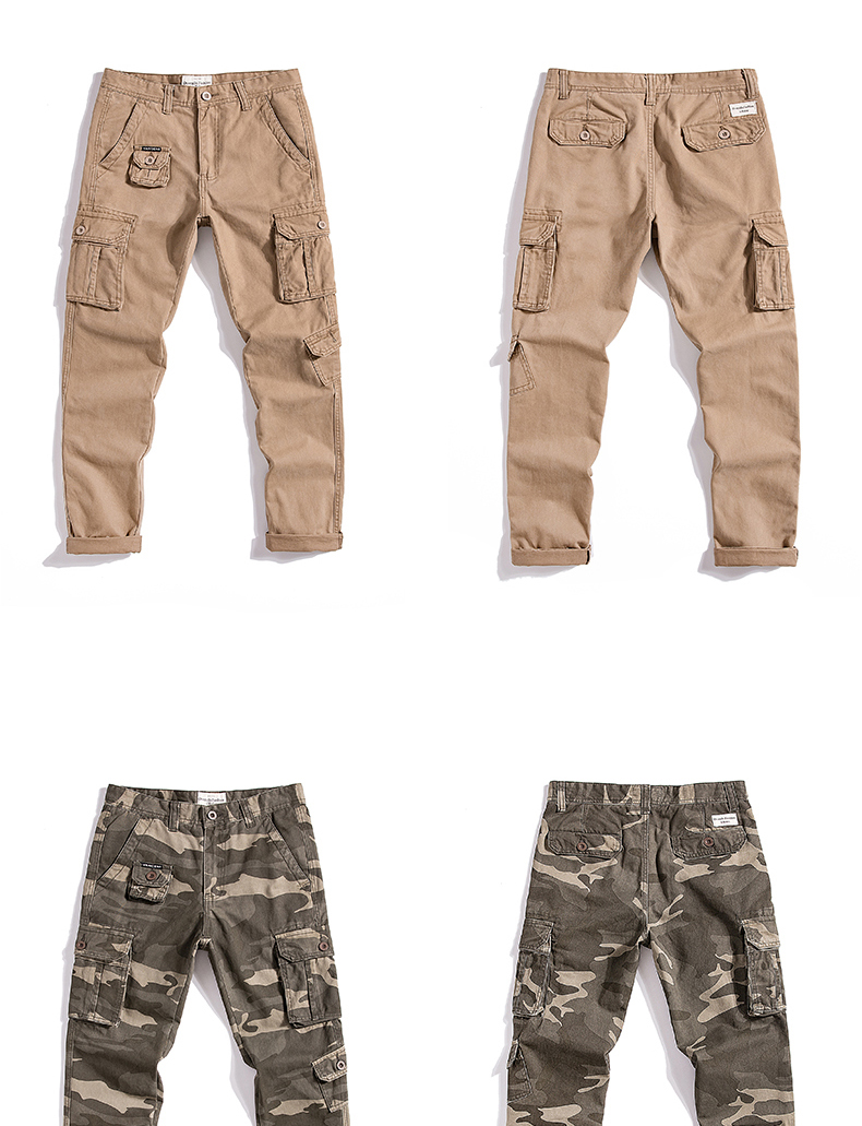 KSTUN Cargo Pants Men Straight Cut 100% Cotton Overalls Casual Pants Men Multi Pockets Camouflage Full Length Trousers Top Quality 27