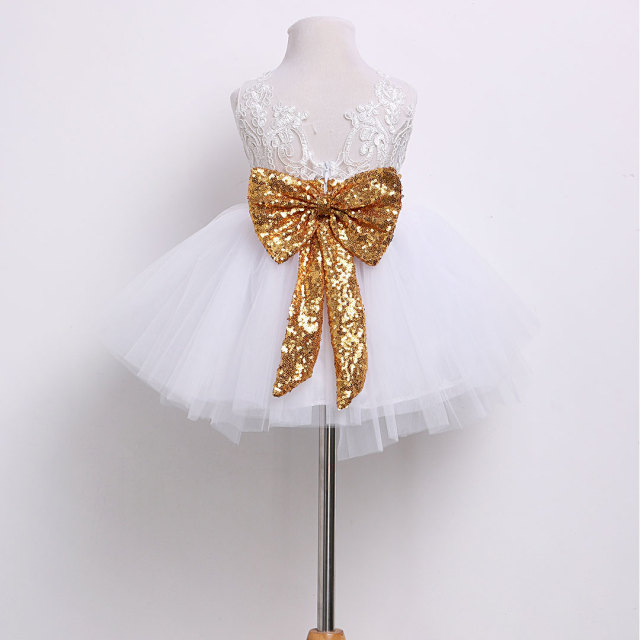 6M-10Y Toddler Baby Kid Girls Dress Princess Lace Bow Sequins Wedding  Party Dresses Christening  1st Birthday Dress