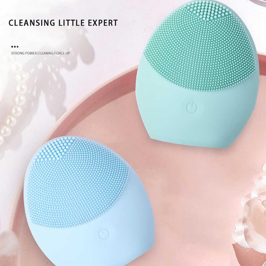 Laikou silicone rosto escova de limpeza rosto elétrico limpador facial elétrico limpeza da pele profunda lavagem massagem escova