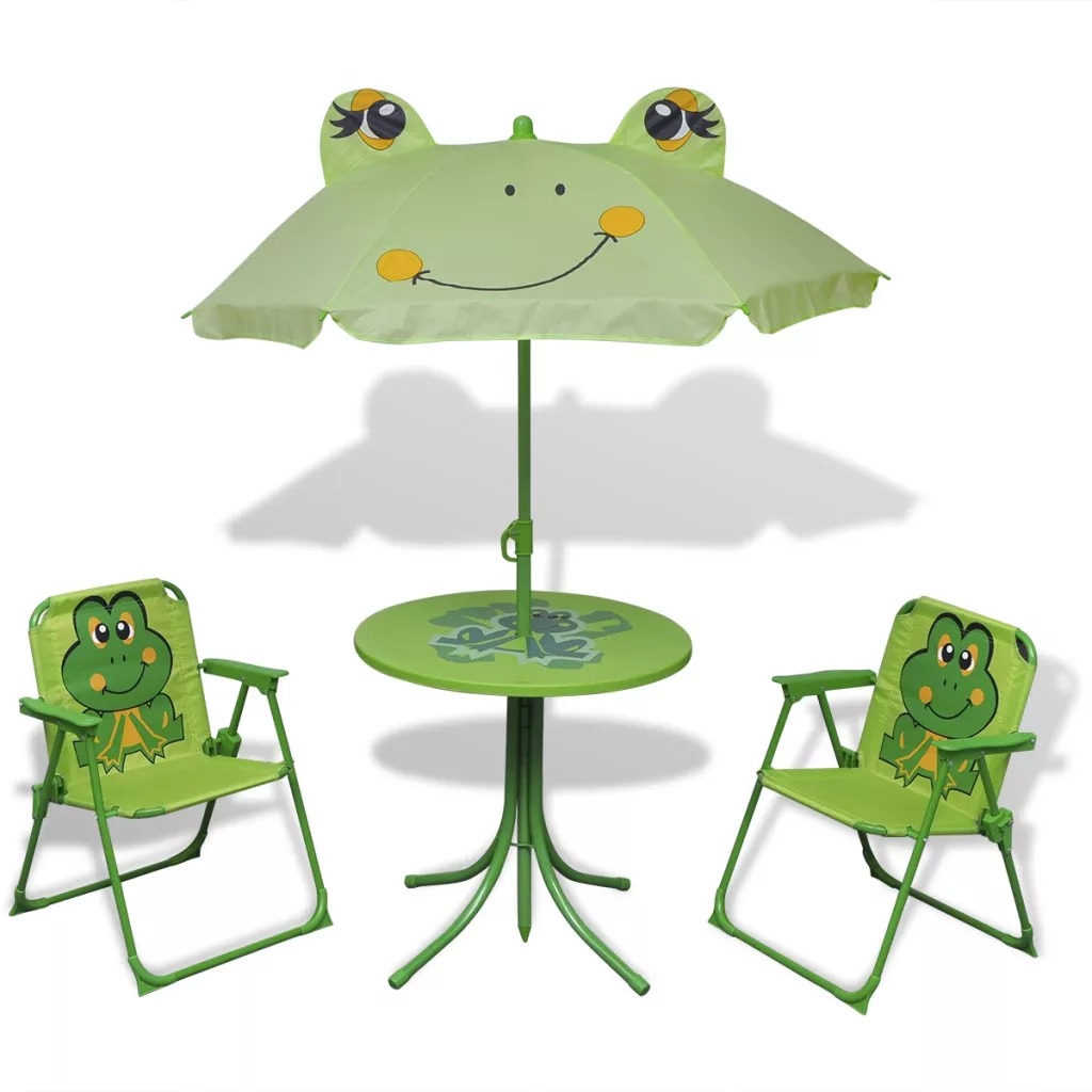 VidaXL 3 Piece Kids' Garden Bistro Set With Parasol Green Steel Tube And Fabric Material Easy Assembly Children Chairs V3