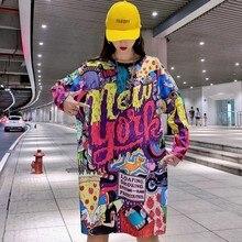 2019 New Harajuku Fashion Long Sleeve T shirt Women Loose Tops Printed Letter Hi