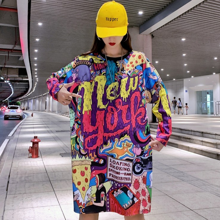 New Harajuku Fashion Long Sleeve T Shirt Women Loose Tops Printed Letter Hip Hop Dance Clothes Women Tops Tee