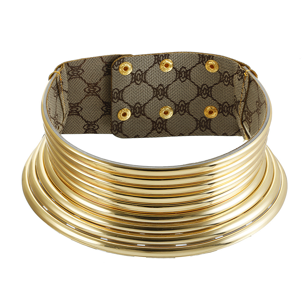 Liffly African Necklace Jewelry Leather Collar Big Choker Gold-Color Women Adjustable