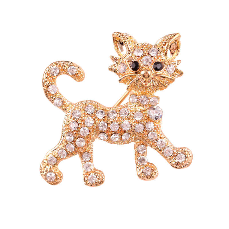 New Shining gold luxury full Rhinestone Tiger vintage wedding gift brooch fine jewelry and fashion brooches for women