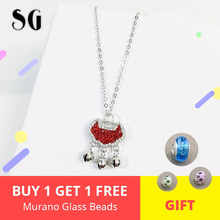 925 silver women fashion jewelry Chinese ethnic Long Life Lock red/black zircon crystal & round bell pendant necklace 2019 new