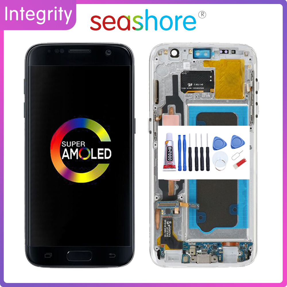 ORIGINAL For <font><b>SAMSUNG</b></font> <font><b>Galaxy</b></font> <font><b>S7</b></font> Flat <font><b>LCD</b></font> Touch Screen Digitizer Assembly For <font><b>Samsung</b></font> <font><b>S7</b></font> Display <font><b>with</b></font> <font><b>Frame</b></font> Replacement SM-G930 image