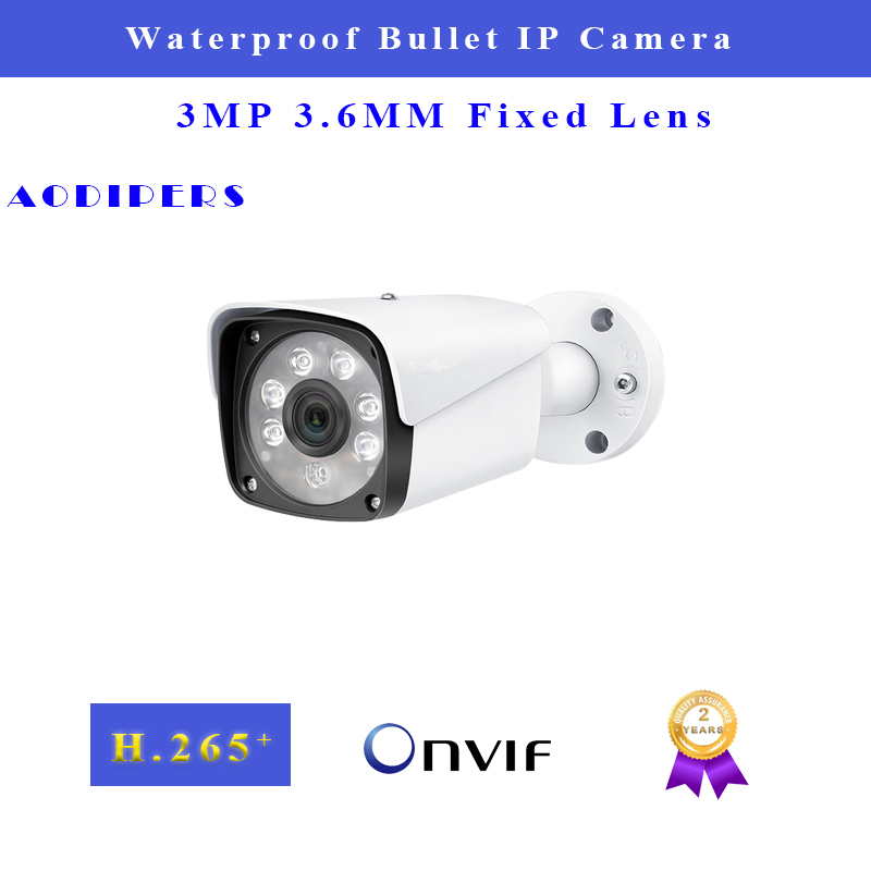3MP POE IP Camera Outdoor Supports 3.6mm Wide Lens Waterproof IP66 Night Version 25fps H.265 Network Bullet Camera P2P Onvif