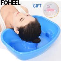 FOHEEL Neck Rest Haar Waschen Becken Schüssel Waschbecken Ablauf Rohr Handicap Bett Becken Tragbare Shampoo Becken für Behinderte Bettlägerige