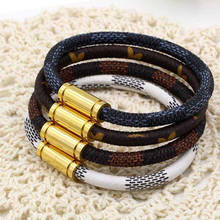 купить High quality titanium steel magnet buckle leather rope bracelet fashion calf leather Bracelets for Women Man Jewelry Gifts KA41 в интернет-магазине
