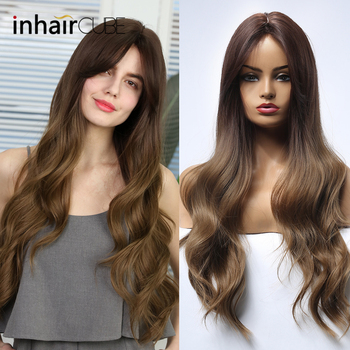 Inhaircube Long Wavy Hair Dark Brown Synthetic Wigs With Bangs For Woman Cosplay Wig Half 4 Colors Free Shipping цена 2017