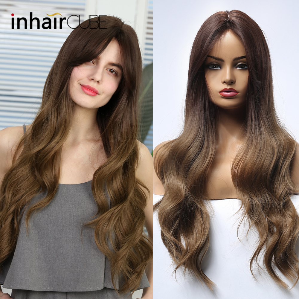 Inhaircube Long Wavy Hair Dark Brown Synthetic Wigs With Bangs For Woman Cosplay Wig Half 4 Colors Free Shipping image