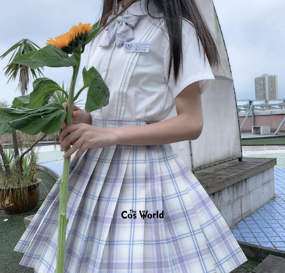[Hoshino] Girl's Japanese Summer High Waist Pleated Plaid Skirts Women Dress For JK School Uniform Students Cloths