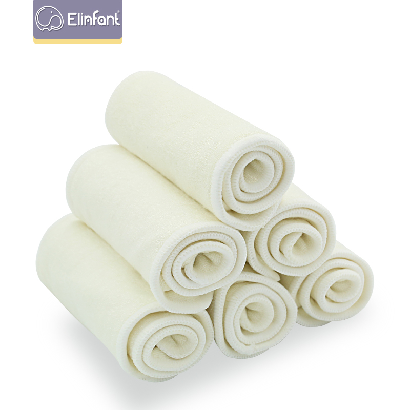 Elinfant 10 Pcs 4 Layers Bamboo Fiber Diaper Insert Washable Super Comfortable Nappy Insert 35×13.5cm For Cloth Diaper&Covers