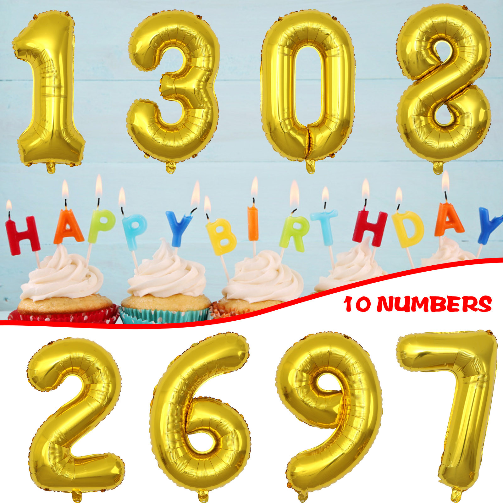 Silver Gold Foil Number Balloons Digital Globos Birthday Wedding Party Decorations Ballons Baby Shower Supplies  Foil Balloons#4