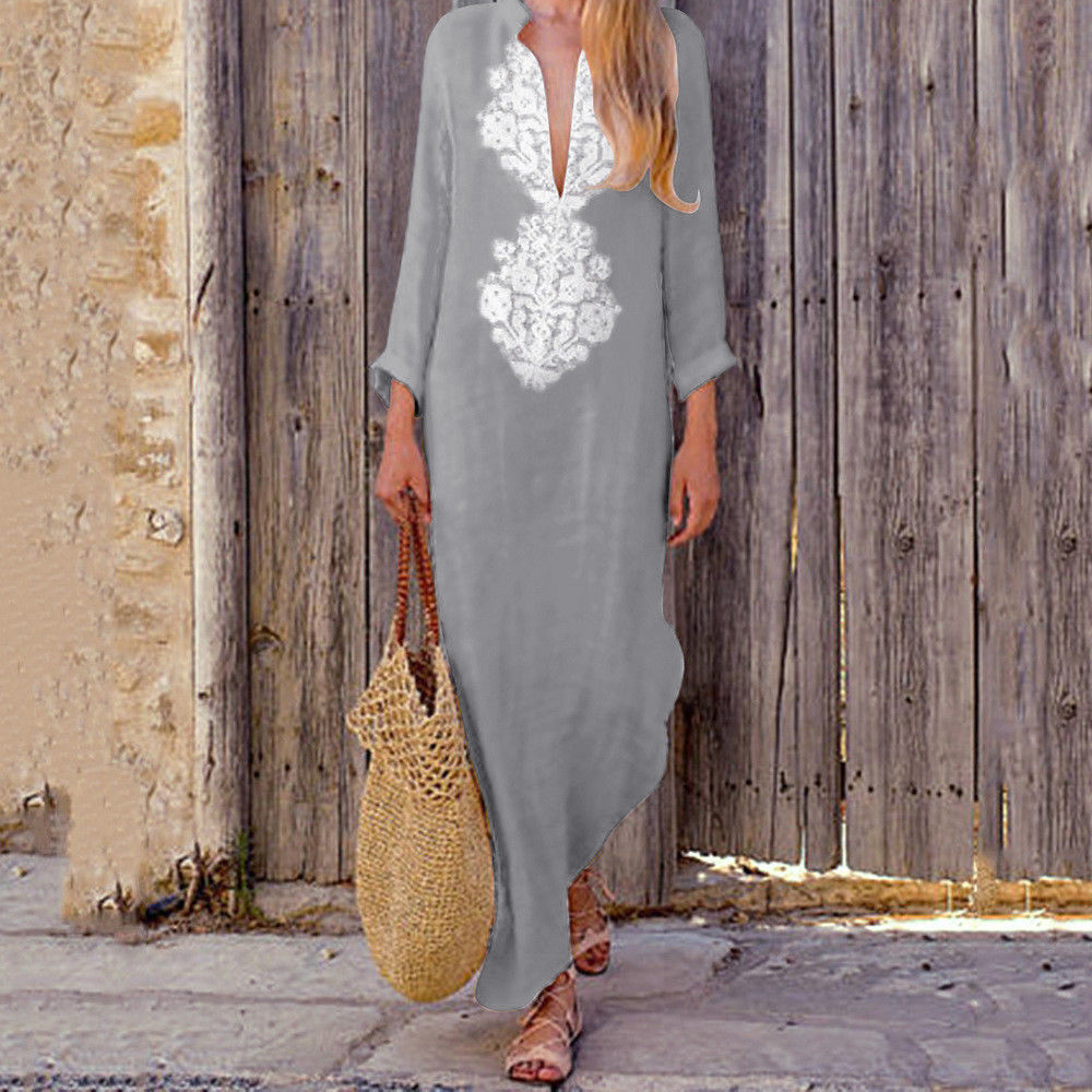 Plus Size Long Dress Women s Printed Summer Dress V neck Maxi Dresses Split Hem Baggy