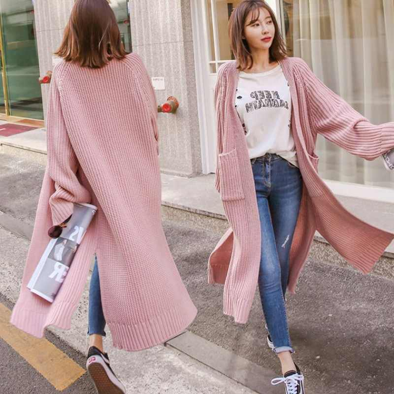 Long Cardigan Women Autumn 2019 Fashion Thicken Knitted Sweaters Female Oversized Tops Fall Casual Loose Coat Split Clothing