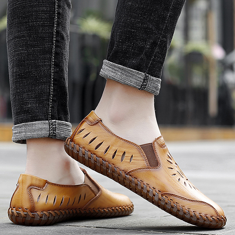 men genuine leather casual loafers Summer flats slip-on breathable handmade sewing moccasins autumn punching fashion drive shoes 3