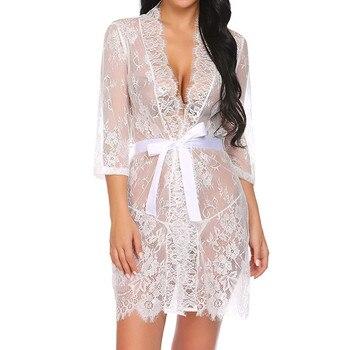 Women's Lingerie Kimono Robe Eyelash Lace Babydoll 1