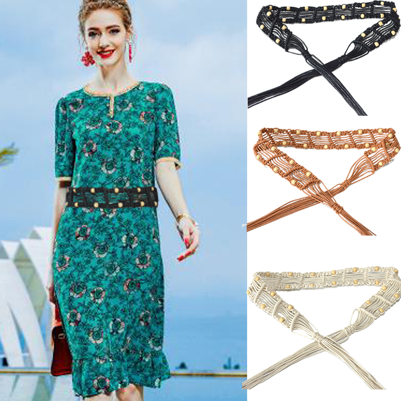 Luxury Desinger 2020 new fashion ladies retro hand-woven wax rope stripe style waist seal rice beads decorative belt BG-1591