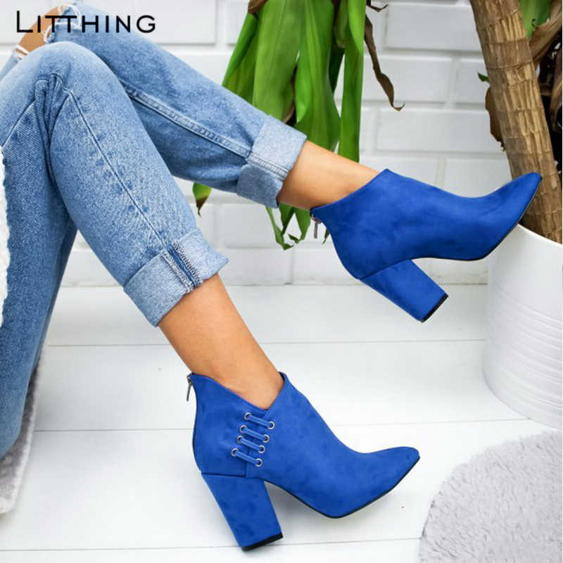 Litthing mode femmes bottes chaussures cheville Sexy bottes courtes bottines à talons hauts mode pointu Europe chaussures femme grande taille 43