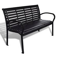Banco de jardín de 125 cm de acero y WPC, color negro