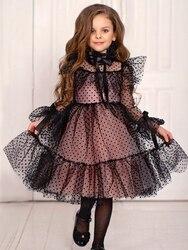 Robe noire pour filles | Tenue de demoiselle d'honneur, sans manches, accessoires pour la photographie, vêtements de bal, nouvelle collection