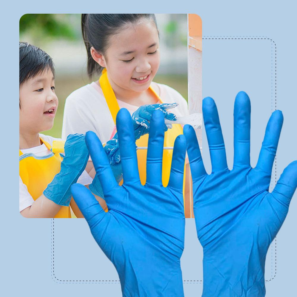 200pcs Children's Blue Disposable Latex Gloves Nitrile Protective Safety Gloves Universal For Left And Right Hands  Kids Gloves