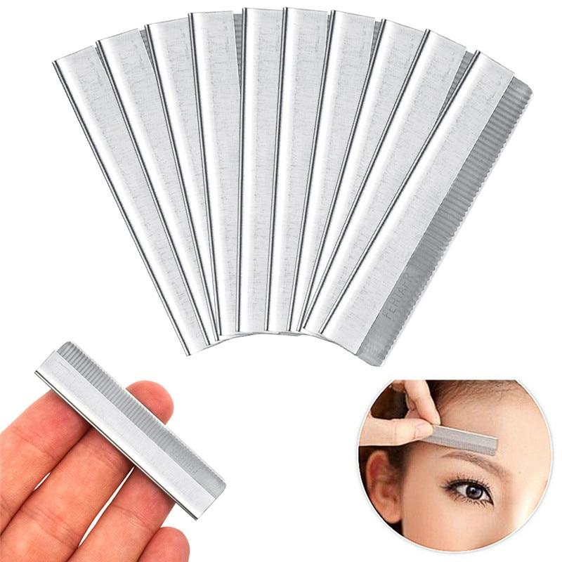 2019 Brand New 10Pcs/set  Eyebrow Razor Trimmer Blade Facial Knife Blade Hair Removers Shaper Tool Professional Make Up Tools