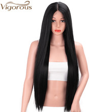 Vigorous 13x6 Long Straight Black Lace Front Wig with Free Part Synthetic Heat Resistant Wigs for Black Women Middle Part Wig(China)
