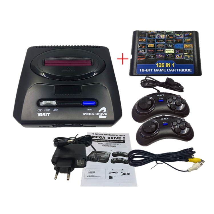 16 bit SEGA MD2 Video Game Console with US and Japan Mode Switch,for Original SEGA handles Export Russia with 126 classic games