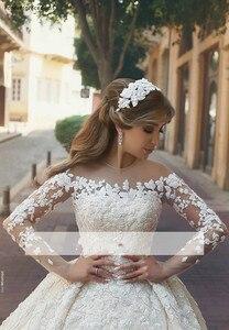 Image 2 - Vestido de noiva, princesa árabe pura mangas compridas vestido de casamento de baile com renda e apliques, formal, da noiva, plus size, 2019