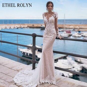 ETHEL ROLYN Mermaid Wedding Dress 2020 Long Sleeve Elegant Beaded Backless Lace Appliques Bride Gown Customized Vestido De Noiva