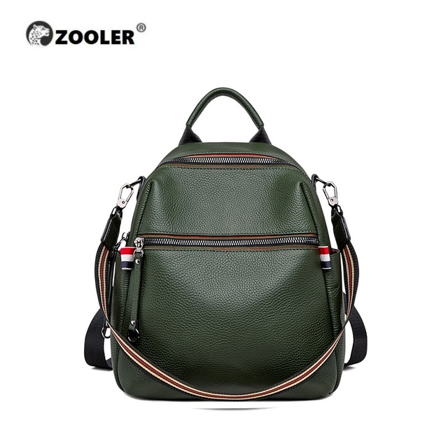 ZOOLER Genuine Leather Backpacks Women Luxury Soft Real Cow Leather Backpack for Girls Green Fashion Female Designer Back#YC205