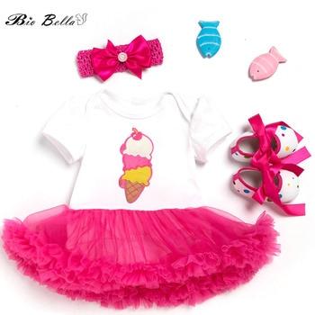 Princesa bebé Niñas Ropa encantadora primera fiesta de cumpleaños Año Nuevo Niñas Ropa conjunto vestido + zapatos + diadema chica traje