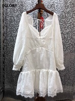 Sexy Hollow Out Back Dress 2020 Spring Party White Purple Dress High Quality Women Lace Patchwork Long Sleeve Party Chic Dress