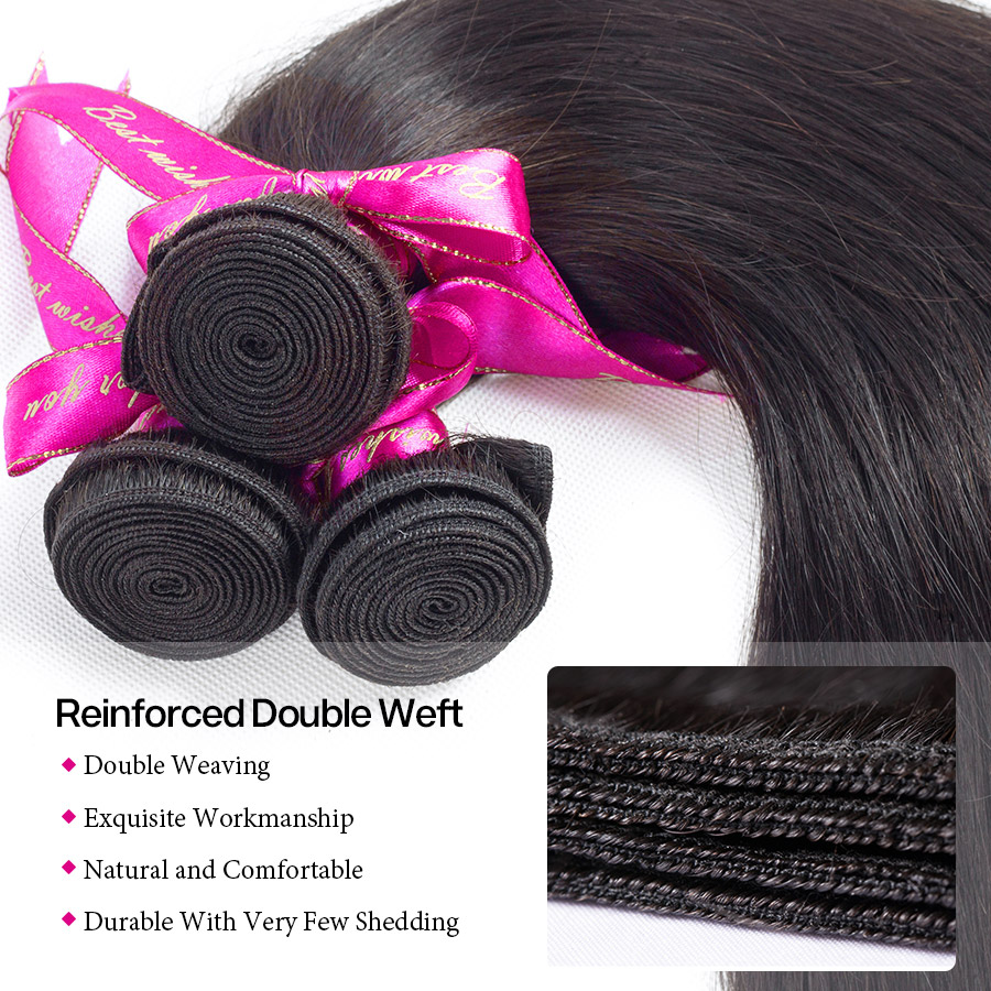 H057297a509104b2891f7defff8bde067s Cynosure Brazilian Straight Hair Weave 3 Bundles with Closure Natural Black Remy Human Hair Bundles with Closure