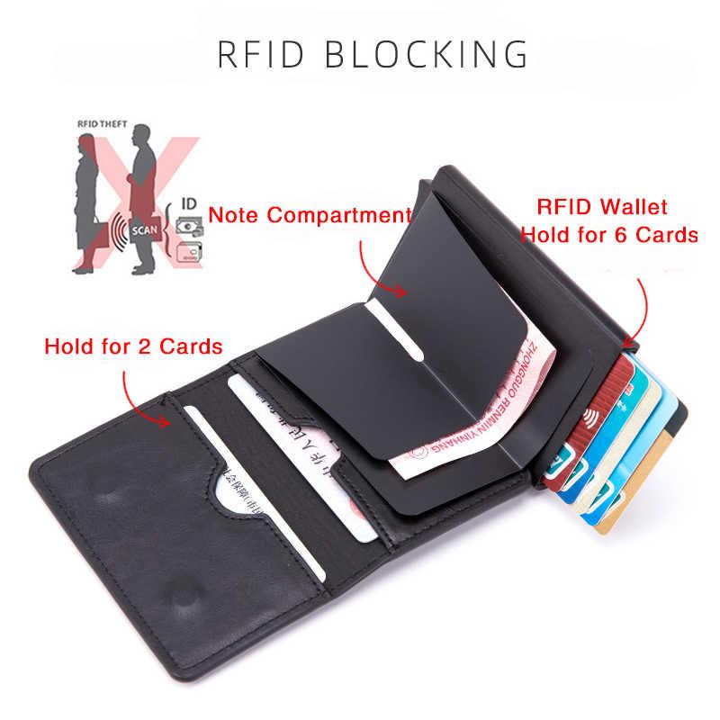 Bisi Goro Mannen En Vrouwen Aluminium Doos Magneet Kaarthouder Pu Lederen Smart Portemonnee Anti-Diefstal Rfid Blocking Id card Case