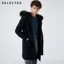 SELECTED Winter New Wool-containing Men's Raccoon Fur Hooded Coat S |418427532(China)