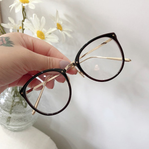Optical Glasses Frame Women Men Round Oversized Eyeglasses Frames Metal Spectacles Clear Lenses Glasses