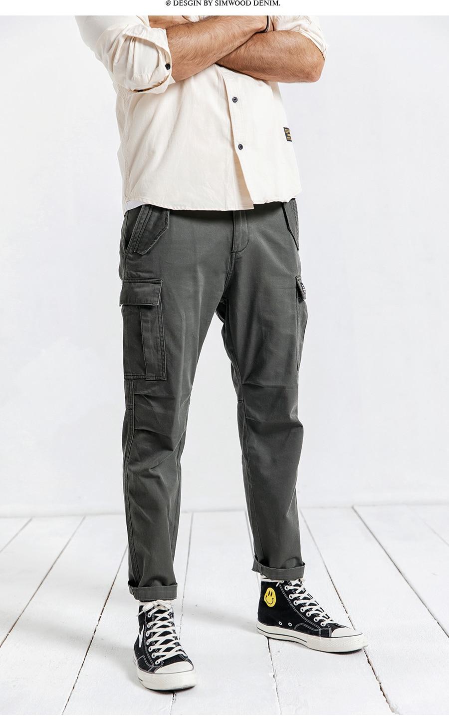 H0572cfe1e9bf425b9f2065a5ee681e14k SIMWOOD New 2019 Casual Pants Men Fashion track Cargo Pants Ankle-Length military autumn Trousers Men pantalon hombre 180614