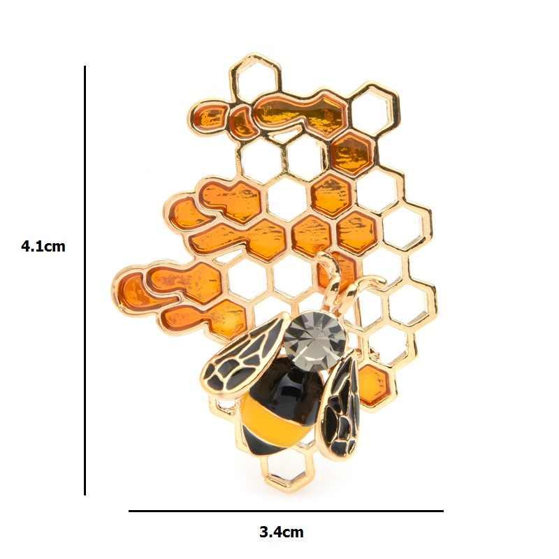 Wuli & bebê esmalte abelha favo de mel broches feminino masculino liga insecto casamentos broche pinos presentes